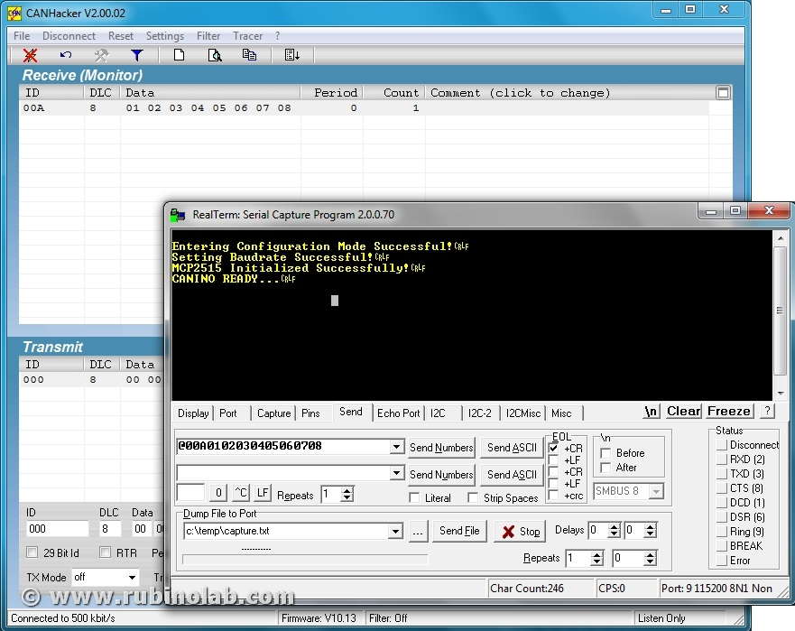 CAN-ISO with CANHacker graphic interface – RubinoLAB